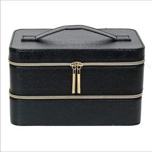NWOT Lancome black faux leather cosmetic case